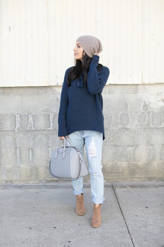 How to wear: navy knit turtleneck, light blue ripped boyfriend jeans, tan suede ankle boots, grey leather tote bag
