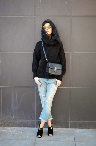 For an outfit that provides comfort and fashion, consider pairing a black knit rollneck with gold sunglasses. Black cutout suede ankle boots complement this look very well. If you're looking for an easy-to-transition ensemble, this one is great.