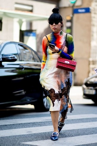 How to wear: multi colored tie-dye turtleneck, multi colored tie-dye cami dress, blue embellished leather loafers, red quilted leather satchel bag