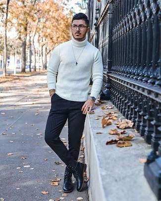 Gold Bracelet Outfits For Men: If you're a fan of comfort dressing when it comes to your personal style, you'll love this bold casual combo of a white wool turtleneck and a gold bracelet. Add a different twist to an otherwise mostly casual outfit by wearing a pair of black leather casual boots.