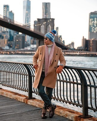 Scarf Outfits For Men: A beige wool turtleneck and a scarf are great menswear staples that will integrate really well within your day-to-day styling rotation. Complement your look with a pair of dark brown leather casual boots for an extra dose of polish.