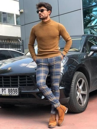 Tan Wool Turtleneck Outfits For Men: A tan wool turtleneck and navy plaid chinos? It's easily a wearable getup that you can sport on a day-to-day basis. You can take a classic approach with footwear and complement your look with tobacco suede casual boots.