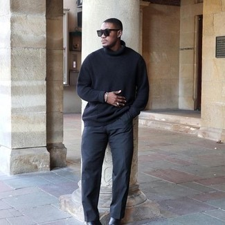 Charcoal Chinos Outfits: A black wool turtleneck and charcoal chinos worn together are a wonderful match. Wondering how to complete your outfit? Finish off with black leather chelsea boots to lift it up.