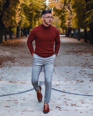 Burgundy Leather Loafers Outfits For Men: This casual combo of a burgundy turtleneck and grey plaid chinos is extremely easy to throw together without a second thought, helping you look awesome and prepared for anything without spending a ton of time combing through your wardrobe. Rounding off with burgundy leather loafers is an effortless way to introduce a little flair to your ensemble.