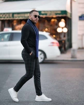 Black Turtleneck Outfits For Men: If you're searching for a laid-back and at the same time dapper outfit, consider pairing a black turtleneck with black check chinos. A pair of white canvas low top sneakers looks right at home paired with this getup.