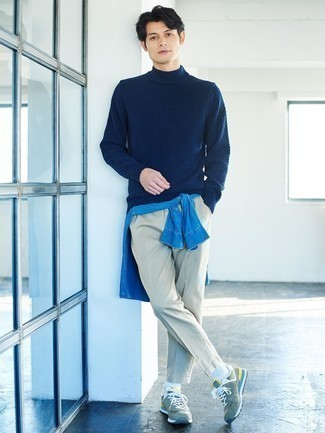 Blue Denim Shirt Outfits For Men: For a laid-back look, wear a blue denim shirt with grey chinos — these two items go nicely together. Break up this ensemble with a more laid-back kind of footwear, like these mint athletic shoes.