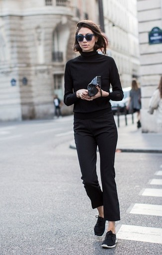 Try pairing a black rollneck with black suit pants for a work-approved look. Dress down this getup with black sneakers.