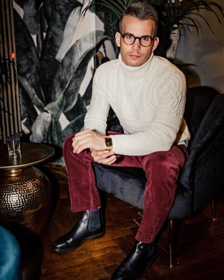 How to wear: white knit wool turtleneck, burgundy corduroy dress pants, black leather chelsea boots, gold watch