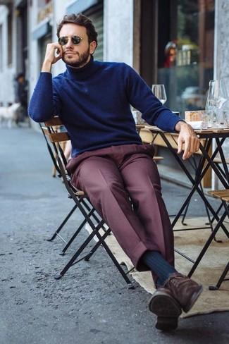 How to wear: navy turtleneck, burgundy dress pants, dark brown suede oxford shoes, black sunglasses