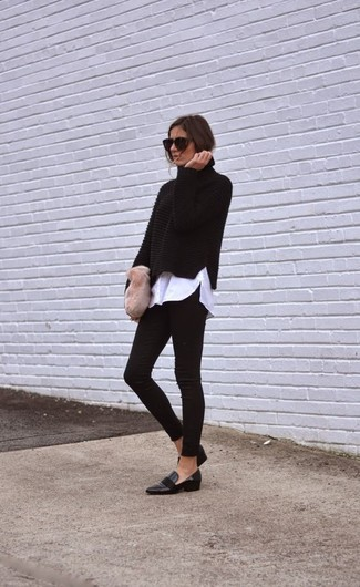How to wear: black knit turtleneck, white dress shirt, black leggings, black leather loafers