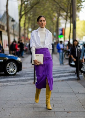 How to wear: white turtleneck, white dress shirt, purple midi skirt, mustard leather knee high boots