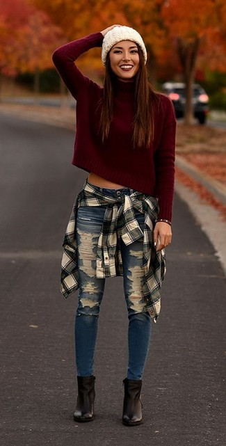 How to wear: burgundy turtleneck, white and black plaid dress shirt, blue ripped skinny jeans, black leather ankle boots