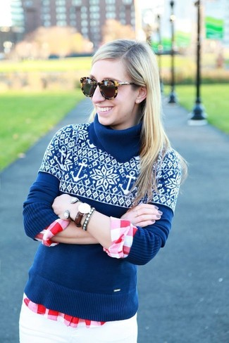 Women's Blue Fair Isle Turtleneck, Red and White Gingham Dress Shirt, White Skinny Jeans, Brown Leopard Sunglasses