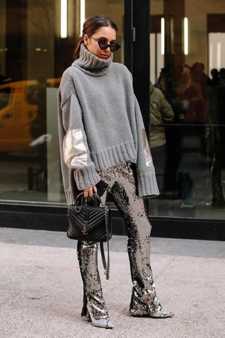 Opt for a grey knit wool turtleneck and silver sequin flare pants to bring out the stylish in you. Complement your ensemble with grey snake leather ankle boots. As you can see, it's so easy to look amazing and stay warm come fall, thanks to this outfit.