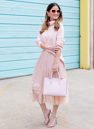How to wear: pink knit turtleneck, pink tulle full skirt, beige leather heeled sandals, pink leather tote bag
