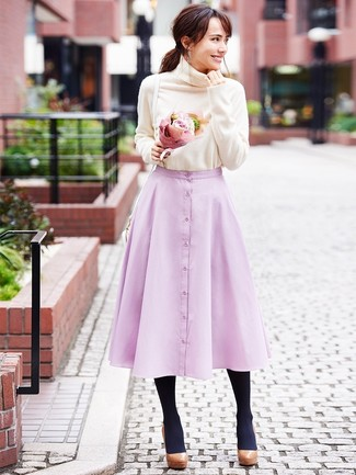 How to wear: beige turtleneck, pink full skirt, brown chunky leather pumps, white leather crossbody bag