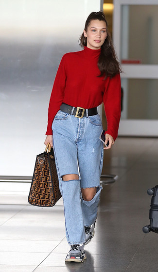 How to wear: red turtleneck, light blue ripped jeans, grey athletic shoes, brown print leather tote bag