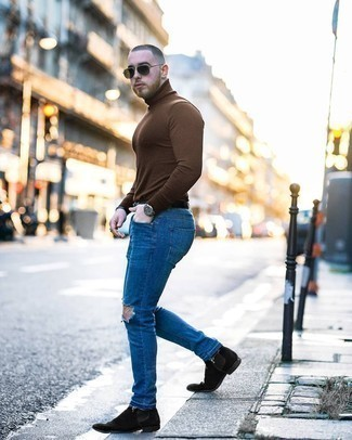 Blue Ripped Jeans Outfits For Men: For an off-duty look with a contemporary spin, dress in a brown turtleneck and blue ripped jeans. Complete your look with black suede chelsea boots to mix things up a bit.