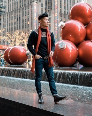 Scarf Outfits For Men: This bold casual combo of a navy fair isle turtleneck and a scarf is very easy to throw together in no time flat, helping you look awesome and ready for anything without spending a ton of time searching through your closet. Feeling creative? Change up your ensemble by wearing a pair of dark brown leather chelsea boots.