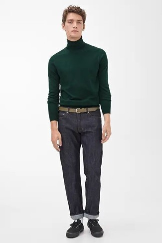 1200+ Outfits For Men In Their 20s: This combo of a dark green turtleneck and navy jeans is proof that a straightforward off-duty look doesn't have to be boring. A pair of black canvas low top sneakers integrates perfectly within a ton of combos. This outfit suggests how to kill it in casual dressing as a young man.