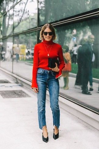 How to wear: red turtleneck, blue jeans, black leather pumps, black leather clutch