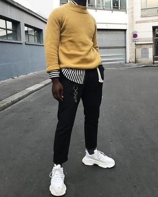 How to wear: mustard turtleneck, white and black vertical striped long sleeve shirt, black chinos, white athletic shoes