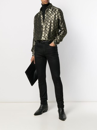 How to wear: black turtleneck, gold print long sleeve shirt, black jeans, black leather chelsea boots