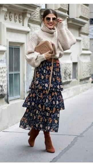 How to wear: beige knit turtleneck, navy floral maxi skirt, tobacco suede knee high boots, tan leather crossbody bag