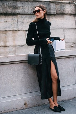How to Wear a Black Slit Maxi Skirt: You'll be surprised at how easy it is to pull together this laid-back outfit. Just a black turtleneck worn with a black slit maxi skirt. For a more elegant finish, why not complement this getup with black suede mules?