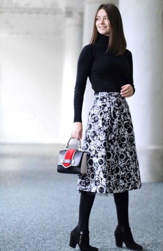 How to wear: black turtleneck, black and white print midi skirt, black suede ankle boots, black leather handbag