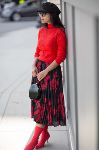 How to wear: red turtleneck, red and black floral midi skirt, red elastic ankle boots, black leather clutch