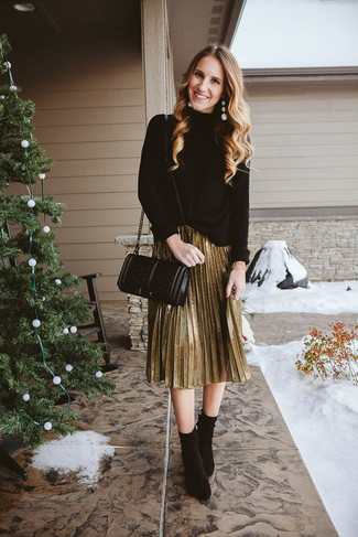 How to wear: black knit turtleneck, gold pleated midi skirt, black suede ankle boots, black quilted leather crossbody bag