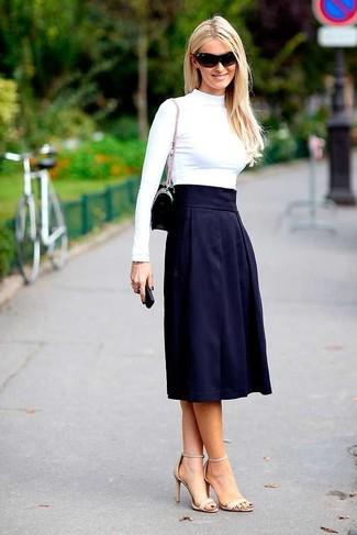 Women's White Turtleneck, Navy Pleated Midi Skirt, Beige Leather ...