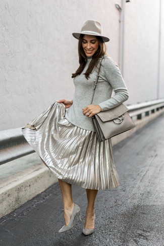 How to wear: grey turtleneck, silver pleated midi skirt, grey suede pumps, grey leather satchel bag