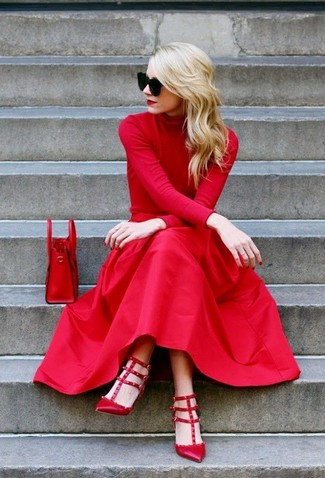 Go for a classic style in an oxblood turtleneck and a red pleated midi skirt. A pair of red leather pumps will seamlessly integrate within a variety of outfits.