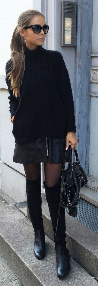 How to wear: black knit turtleneck, black leather mini skirt, black suede ankle boots, black leather satchel bag