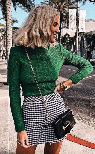 How to wear: dark green turtleneck, white and black gingham mini skirt, black leather crossbody bag, gold watch