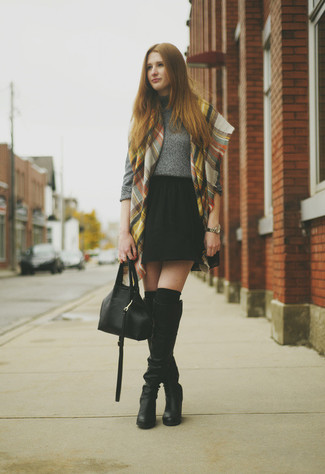 How to wear: grey turtleneck, black pleated chiffon mini skirt, black leather knee high boots, black knee high socks