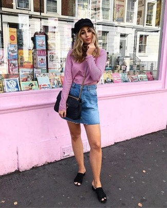How to wear: pink turtleneck, blue denim mini skirt, black suede mules, black quilted leather crossbody bag
