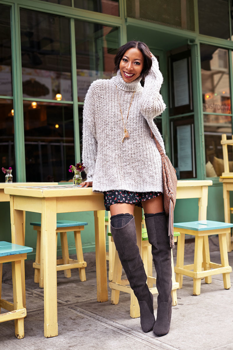 How to Wear Dark Brown Over The Knee Boots (23 looks) | Women's ...