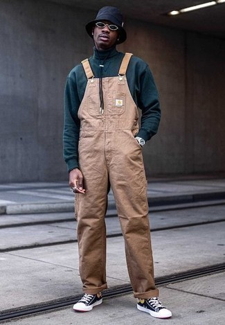 How to Wear a Bucket Hat For Men: Opt for a teal wool turtleneck and a bucket hat to create a truly stylish and city casual outfit. For something more on the classy side to finish off your outfit, complement this outfit with a pair of black print canvas high top sneakers.
