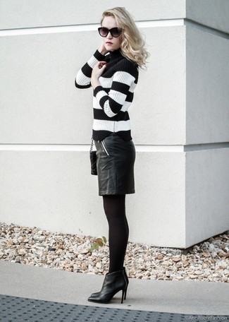 How to wear: black and white horizontal striped turtleneck, black leather pencil skirt, black leather ankle boots, black quilted leather crossbody bag