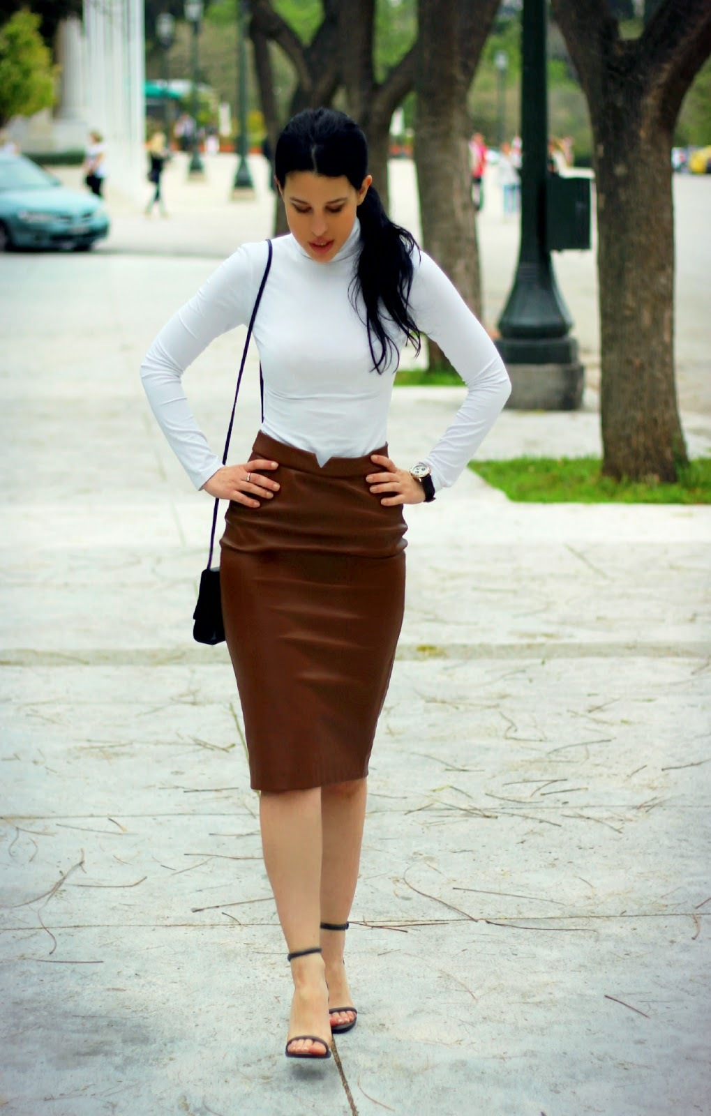 How to Wear a Dark Brown Leather Pencil Skirt (5 looks) | Women's ...
