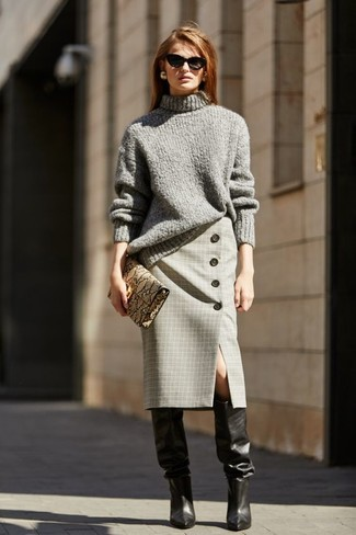 How to Wear Leather Knee High Boots: This combo of a grey knit turtleneck and a grey plaid pencil skirt is simple, stylish and very easy to recreate! Leather knee high boots integrate nicely within a ton of getups.