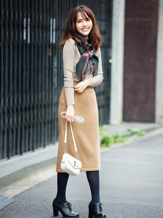 How to wear: beige turtleneck, tan wool pencil skirt, black leather lace-up ankle boots, white leather crossbody bag