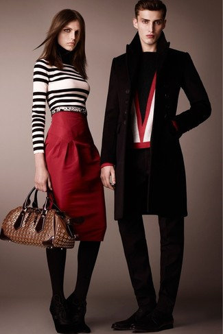 Perfect the smart casual look in a white and black striped turtleneck and a red pencil skirt. Round off this look with black suede lace-up ankle boots.