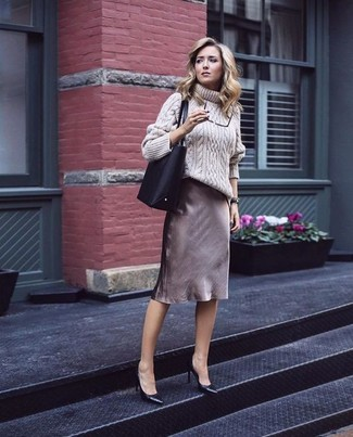 Women's Beige Knit Wool Turtleneck, Brown Pencil Skirt, Black Leather Pumps, Black Leather Tote Bag
