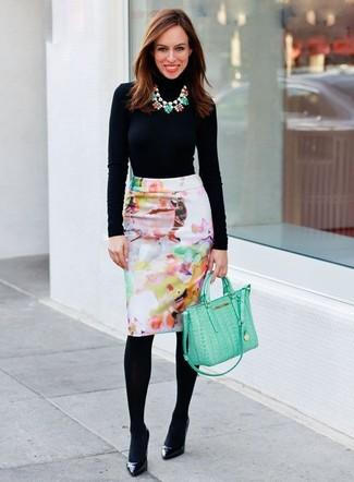 Women's Black Turtleneck, White Floral Pencil Skirt, Black Leather Pumps, Mint Leather Satchel Bag