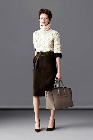 Women's Beige Knit Turtleneck, Dark Brown Velvet Pencil Skirt ...