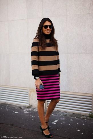 How to wear: tan horizontal striped turtleneck, hot pink horizontal striped pencil skirt, dark green horizontal striped canvas pumps, black sunglasses